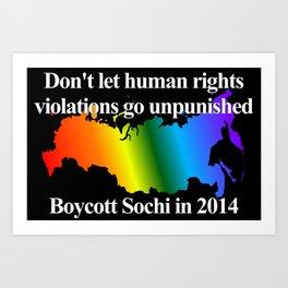Boycott Sochi - Rainbow Flag Gradient Art Print