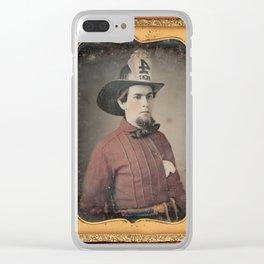 Portrait of a Fireman - Daguerreotype Clear iPhone Case