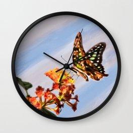Tail Jay on Scarlet Milkweed Wall Clock
