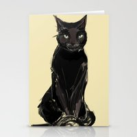 black cat Stationery Cards featuring Black Cat by Jaleesa McLean