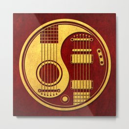 Vintage Red and Yellow Acoustic Electric Guitars Yin Yang Metal Print
