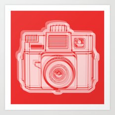 I Still Shoot Film Holga Logo - Reversed Red Art Print