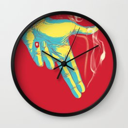 Rock, Paper, Scissors... Gun Always Wins Wall Clock