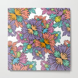 Pastel Retro Flowers pattern Metal Print