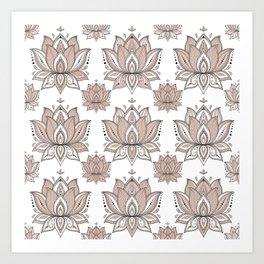 Lotus Mandala Doodle Pink Marble Pattern Art Print