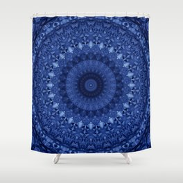 Mandala in deep blue tones Shower Curtain