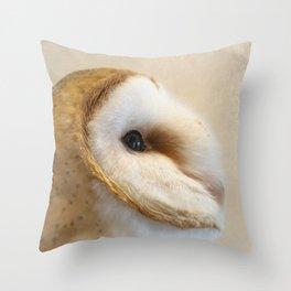Barn Owl Side Portrait Throw Pillow