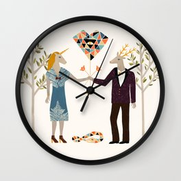 The stag finally found his unicorn Wall Clock