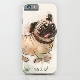 The Furminator pug watercolor like art iPhone Case