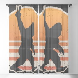 Retro Bigfoot Peace Sign Sheer Curtain