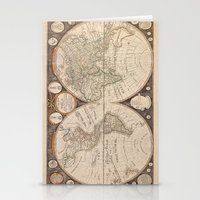 map of the world Stationery Cards featuring World Map by Le petit Archiviste