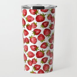 Watercolor Strawberries Travel Mug