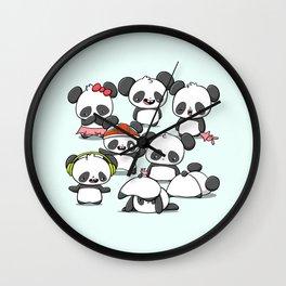 Kawaii Panda Doodle Wall Clock