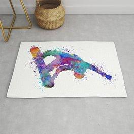 Boy Snowboarding Trick Colorful Winter Artwork Rug