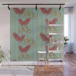 Striped Australian Floral Print Wall Mural