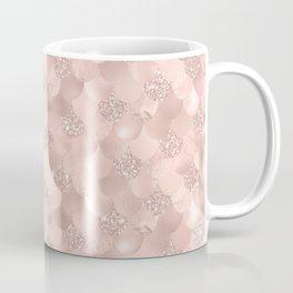 Glam Rose Gold Pink Mermaid Scallops Patterned Coffee Mug