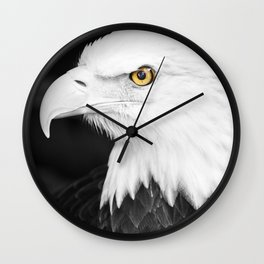 Bald Eagle with Yellow Eye Wall Clock