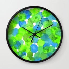 Watercolour Circles- Bright Green and Blue Wall Clock