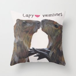 Capy Valentines Throw Pillow