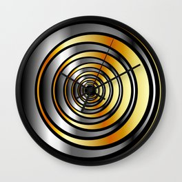 Concentric metallic rings in gold and silver-metallic texture artwork Wall Clock