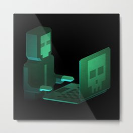 Hacker low-poly 3D artwork Metal Print