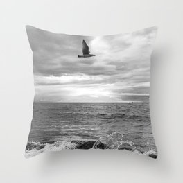 Bird & Beach Throw Pillow