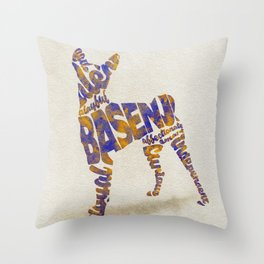 Basenji Dog Typography Art / Watercolor Painting Throw Pillow