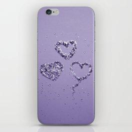 Ultra Violet LOVE Glitter Hearts #1 #shiny #decor #art #society6 iPhone Skin