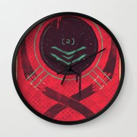 dead space Wall Clocks featuring Dead Space by Hector Mansilla