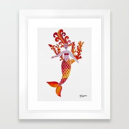 Fiery Mermaid Framed Art Print