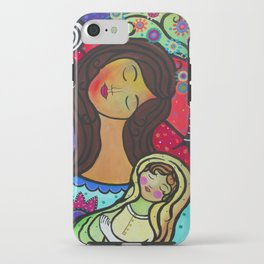 Abstract Mother and Child Painting by Prisarts iPhone Case