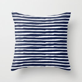 Navy Blue Stripes on White II Throw Pillow
