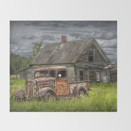 Old Vintage Pickup in front of an Abandoned Farm House Throw Blanket
