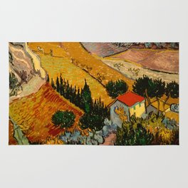 Landscape with House and Ploughman Rug