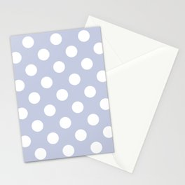 Light periwinkle - grey - White Polka Dots - Pois Pattern Stationery Cards