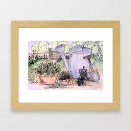 Garden Tools Watercolor Illustration Watercolor Framed Art Print