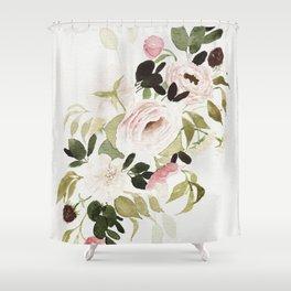 Romantic Loose Rose Bouquet Shower Curtain