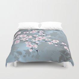 Dusky Pink Grayish Blue Cherry Blossom Duvet Cover