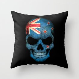 Dark Skull with Flag of New Zealand Throw Pillow