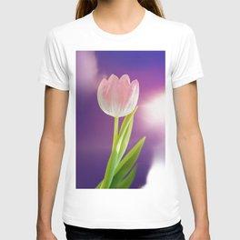 Pink tulip flower over ultra violet background wth light flare T-shirt
