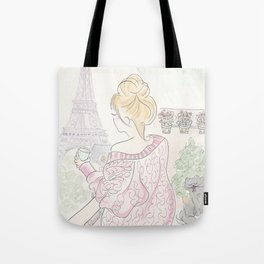 Paris Eiffel Tower Fashionable Morning Coffee and Kitty Cat Tote Bag
