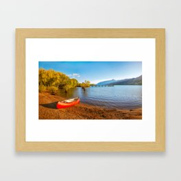 Glenorchy Wharf and pier at golden hour in New Zealand Framed Art Print