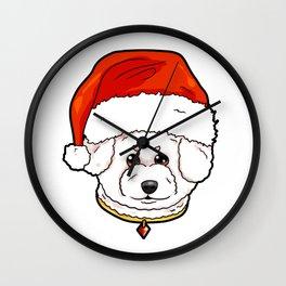 Bichon Frise Dog Christmas Hat Present Wall Clock