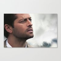castiel Canvas Prints featuring Castiel by LindaMarieAnson