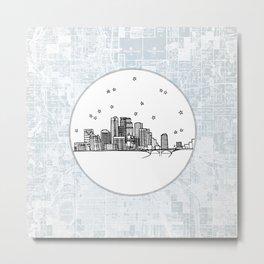 Minneapolis, Minnesota City Skyline Illustration Drawing Metal Print