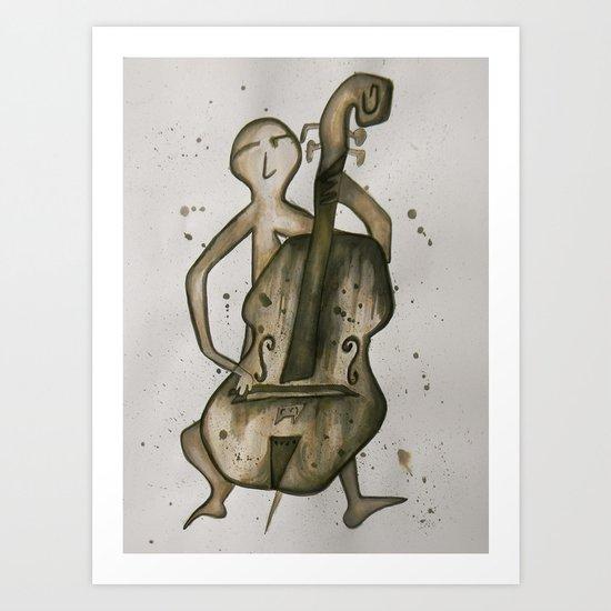 Cellist in Ink Art Print