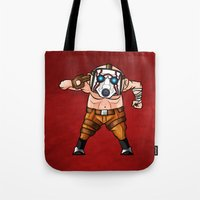 borderlands Tote Bags featuring BORDERLANDS PSYCHO by DROIDMONKEY