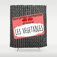 vegetables Shower Curtains featuring Les Vegetables by Kramcox