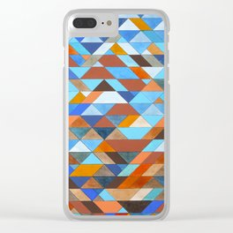 Triangle Pattern no.18 blue and orange Clear iPhone Case