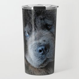 Watching Master - Blue Chow Chow Travel Mug